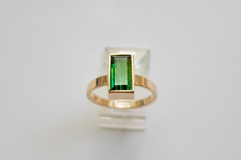 14kt Gold Rectangular Cut Blue-Green Tourmaline Ring 2.83 cts. $1200