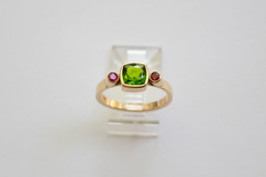 14kt Gold Cushion Cut Diopside Chrome and Ruby Ring $900