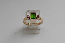 14kt Gold Rectangular Green Tsavorite Ring w/ Rubies Stone Weight: 1.16 cts Price: $1800