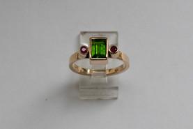 14kt Gold Rectangular Green Tsavorite Ring w/ Rubies Stone Weight: 1.16 cts Price: $1800