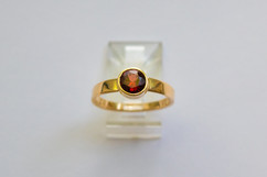 14kt Gold Round Red Rhodolite Garnet Ring $650