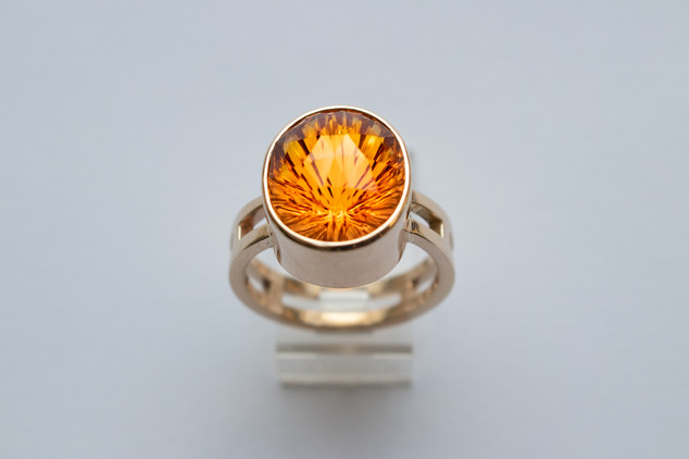 14kt Gold Fancy Cut Oval Citrine Ring with Double Band Stone weight: 7.51 cts Price: $1400