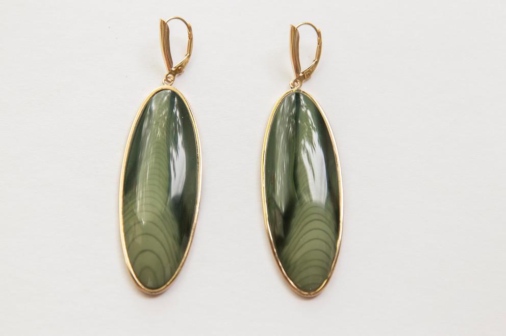 14kt Gold Large Oval Jasper Earrings Price: $1400