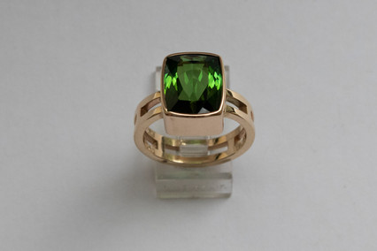14kt Gold Cushion Cut/Square Blue Green Tourmaline (Double Band) Stone Weight: 6.07 ct Price: $3500