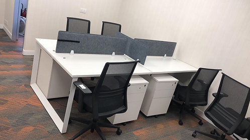 二手屏風辦公桌4格 +4個推櫃桶