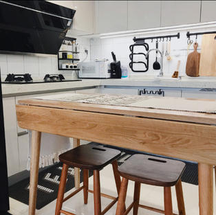 泰國橡膠木雙邊可摺疊餐桌