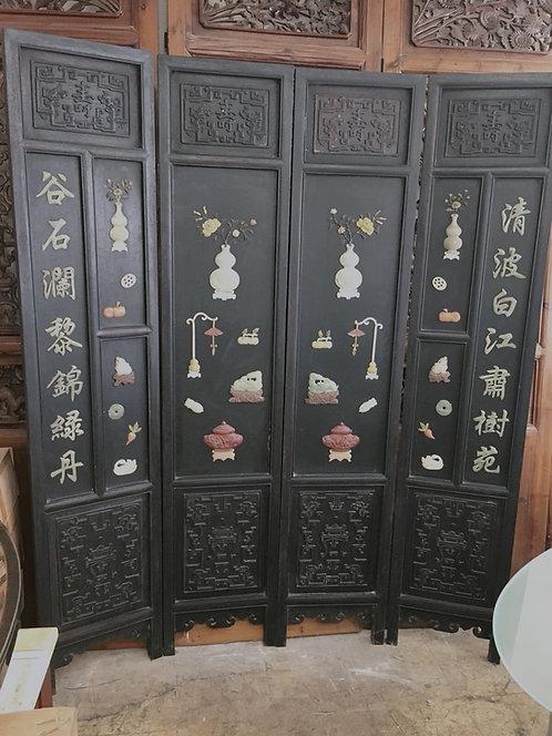 中式紅木屏風 玉石百寶圖