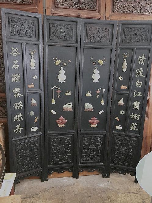 中式紅木屏風 玉石百寶圖(價格另洽)
