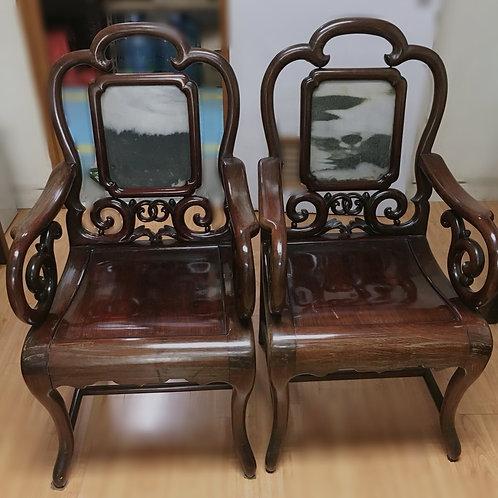 中式天然理石鑲嵌紅木酸枝椅一對