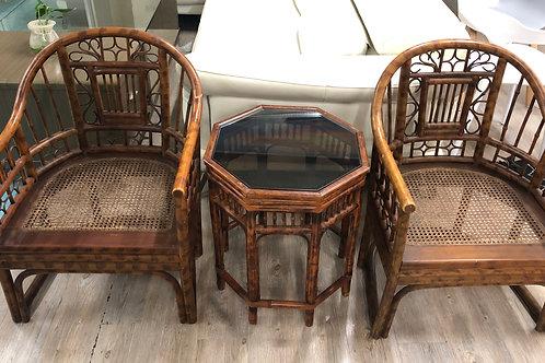 中式古典紅木藤椅連玻璃面茶几(已售)