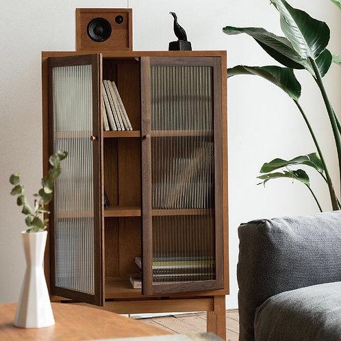日式實木玻璃櫃