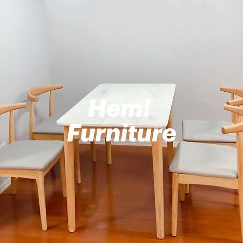 <預訂> 雲石紋 玻璃實木餐桌