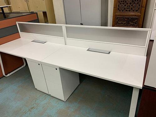 二手屏風4格連抽屜 辦公桌