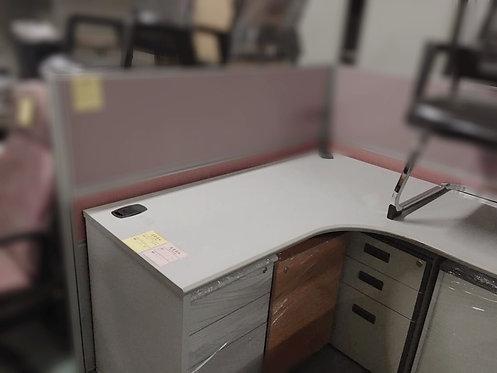二手曲尺檯連推櫃 Second hand L shaped desk with drawer