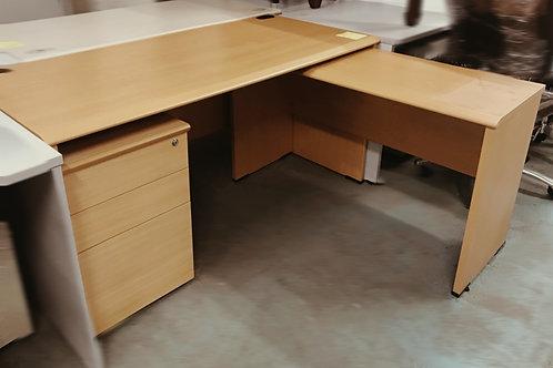 二手 木紋色L型辦公桌 連推櫃桶