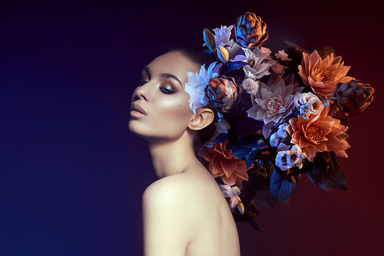 beauty-flowers-face-woman-with-double-exposure-portrait-girl-neon-light-color-professional