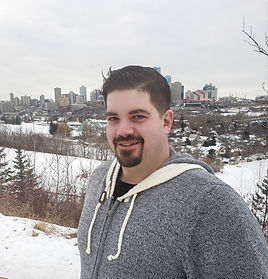 Calvin Brooks with Edmonton in the background