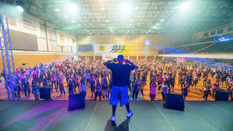 Tony on stage teaching a very large crwod at a global event.