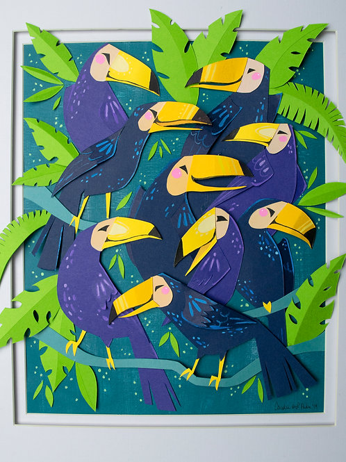 Cut Paper Original: Tropical Toucans