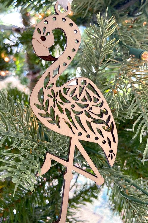 Flamingo Wood Ornament