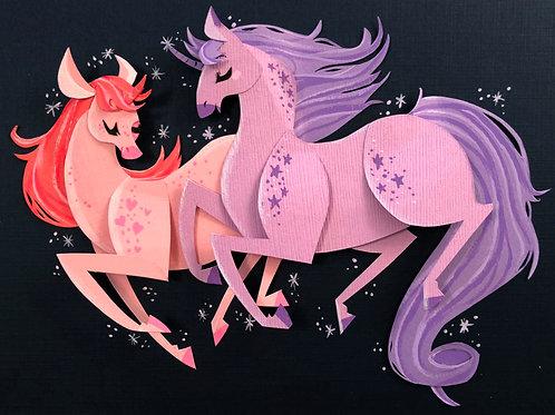 Cut Paper Original Unicorn Illustration