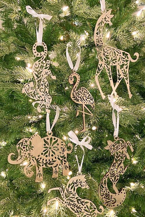 Set of Six Animal Ornaments