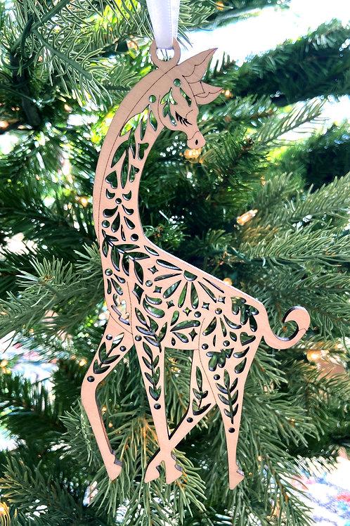 Giraffe Wood Ornament