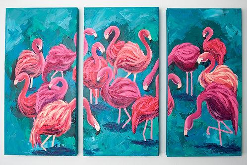 Original Flamingo Triptych Painting