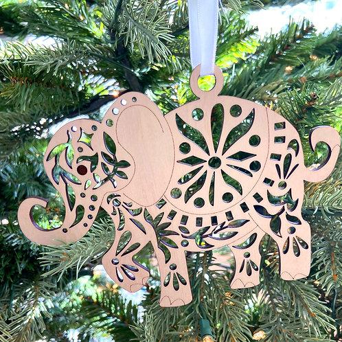 Elephant Wood Ornament