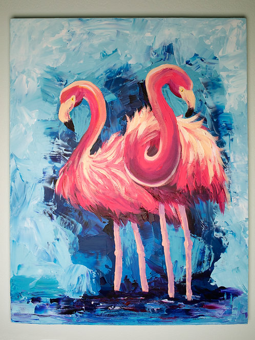 ORIGINAL PAINTING - Flamingos