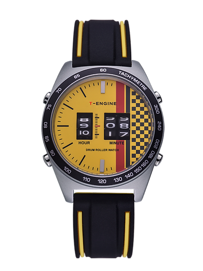 APEX - Yellow Dial - Silicon Band - Three Drum Roller Movement