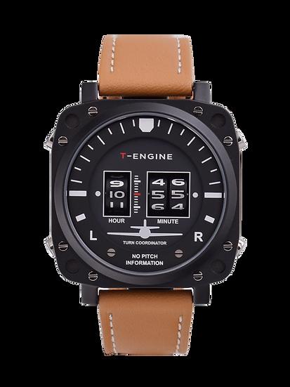 Altimeter - Genuine leather strap - T-ENGINE Three drum roller watch