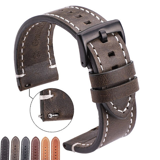 Vintage Genuine Leather Watchbands 7 Colors Belt 22mm