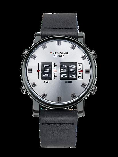 Prana - White Dial - Genuine Leather Strap - Three Drum Roller Watch