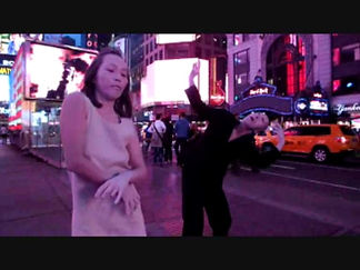 christophe avella bagur, New York with Zatsu and Watanabe butoh dancers, Times square