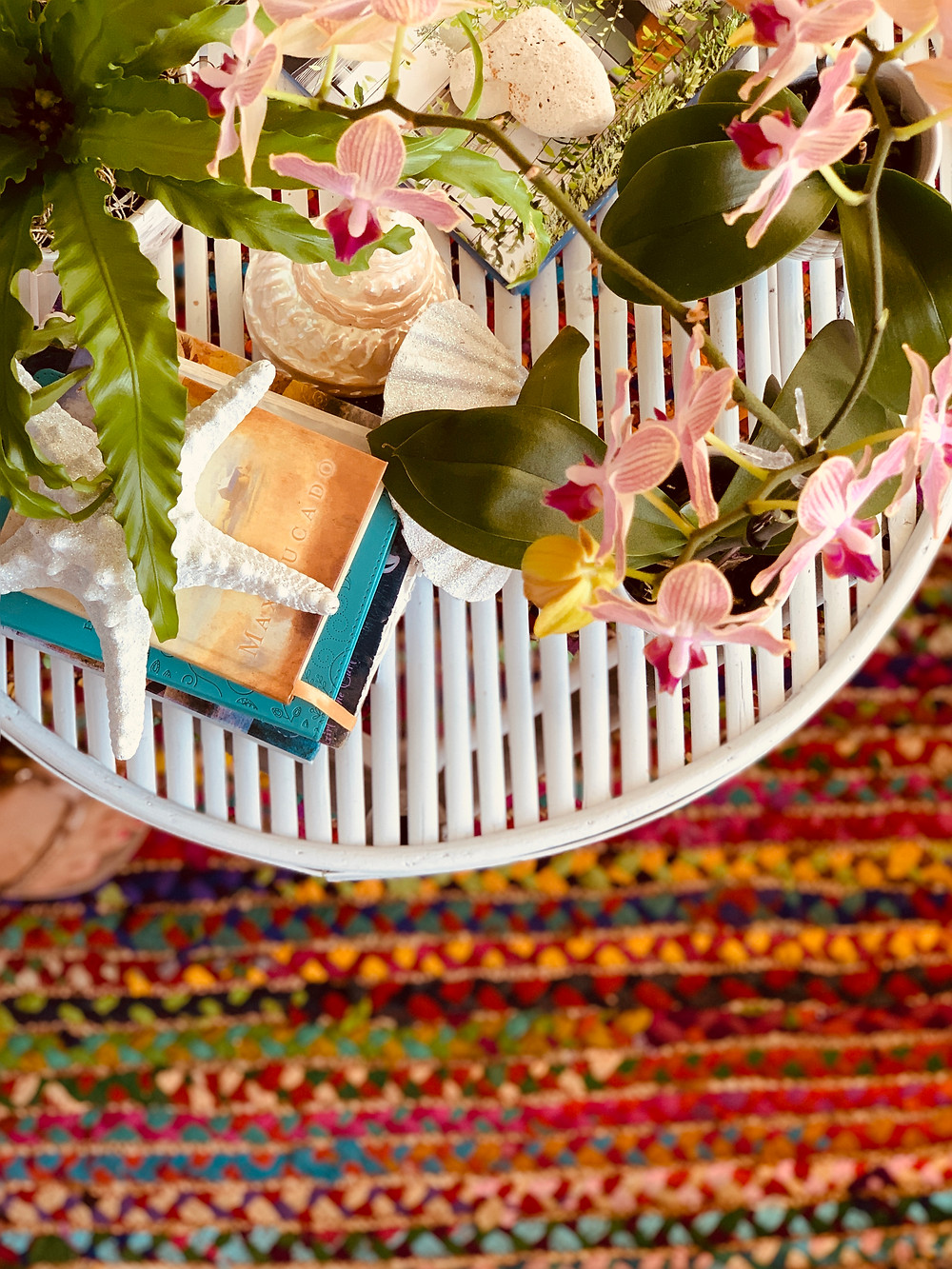 boho chid decorated table in surf shop in Southern California