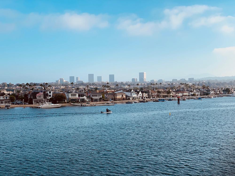 view from The Catalina Flyer onto Newport Beach, Balboa Pavillion view