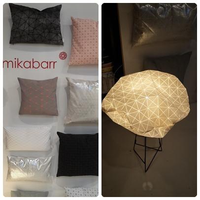 """מנורת לילה וכריות של היוצרת מיקה בר תערוכת חנויות בת""""א צילום ועריכה: רויטל רודצקי"""