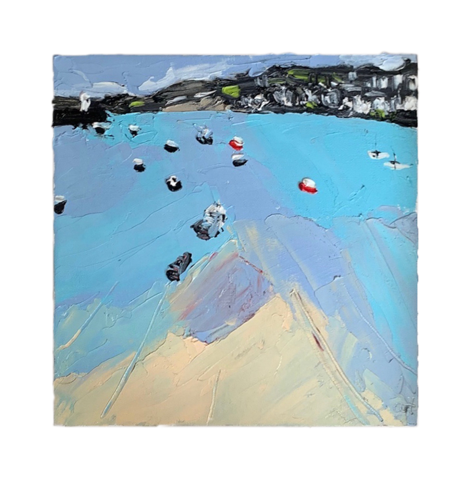 St Ives harbour blue