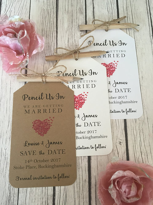 Red Heart Pencil Us In Save The Dates