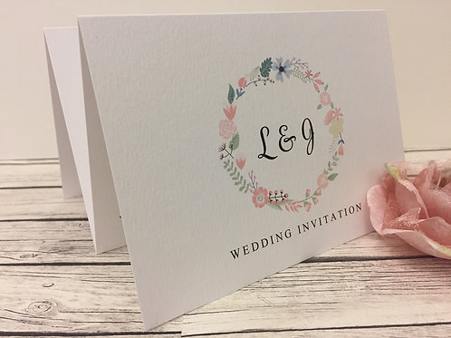 Floral Wreath Concertina Wedding Invitation
