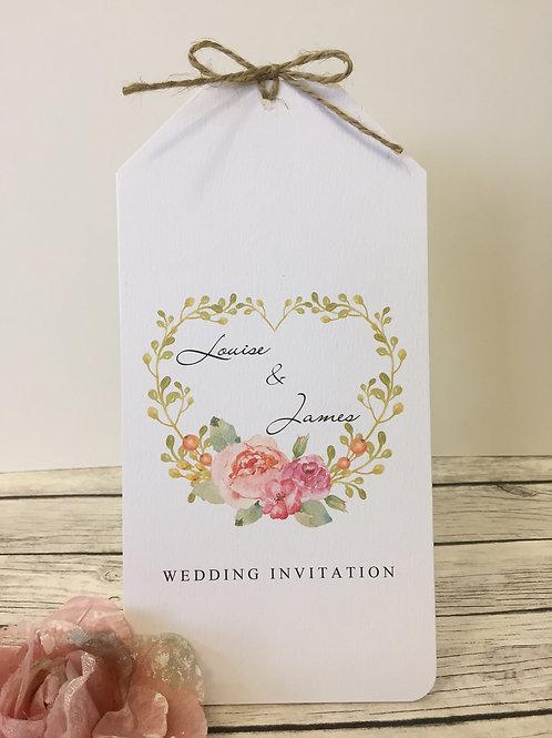 Foral Bouquet Tag Wedding Invitation