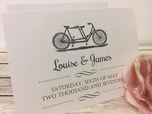 Vintage Biycle Concertina Wedding Invitation