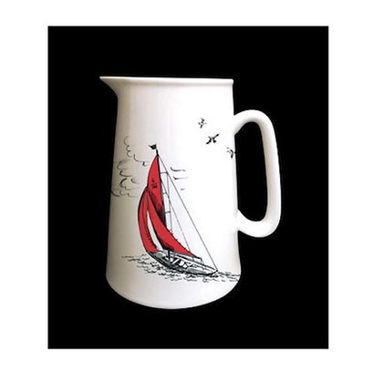 """Sail Away"" Jug with Blue Sail Boats"