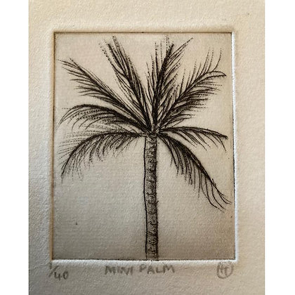 """Mini Palm"" Dry Point Print by Hannah Oakley"
