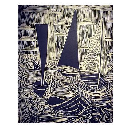 """""""I Saw Your Storm"""" Linocut by Jo Oakley"""