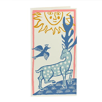 Deer and Bird Print Christmas Cards - Pack of 10