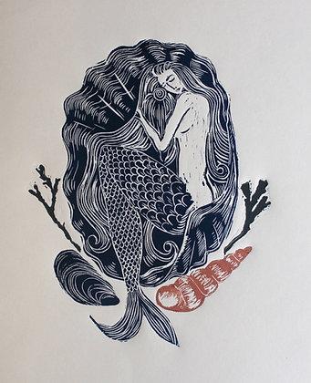 """""""All She Needs Is Love"""" Linocut Print by Jo Oakley"""