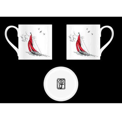 """""""Sail Away"""" Mug in Red Boat Design"""