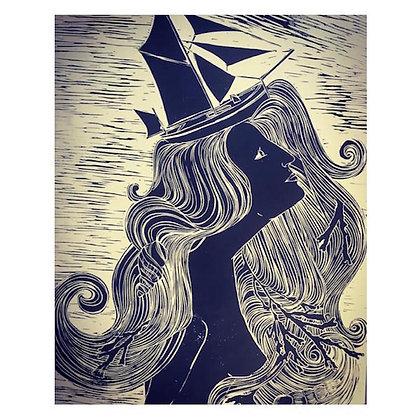"""""""She Wear's The Crown"""" Linocut by Jo Oakley"""